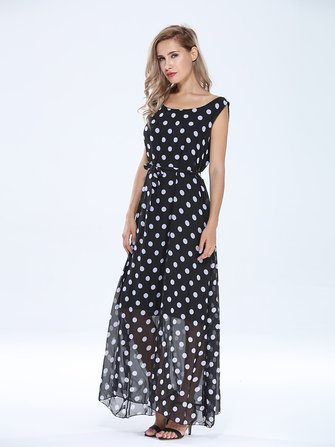 Elegant Women Polka Dots Sleeveless Chiffon Maxi Dress With Belt