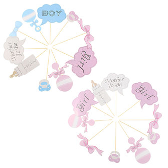 10Pcs Baby Shower Photo Booth Props Little Girl Mini Boy New Born Wedding Party Decoration