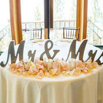 35CM MR&MRS Shining Bling Wooden Letters Sign Table Decoration Wedding Favor Gift Accessories