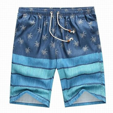 Mens Casual Beach Style Printed Loose Quick Dry Beach Shorts With Drawstring 4 Colors