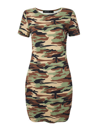 Sexy Women Camouflage Irregular Hem Party Bodycon Mini Dress