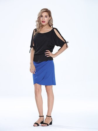 Elegant Women High Waist Solid Asymmetric Pleated Package Hip Pencil Skirt