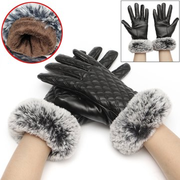 Women Ladies Artificial Leather Gloves Faux Rabbit Fur Velvet Linen Screen Touch Outdooors Mittens