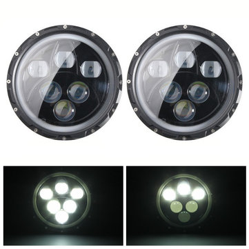 2pcs H4 H13 7inch 60W 6500K IP67 Hi/Lo Beam LED Headlights For Jeep Wrangler JK TJ LJ CJ