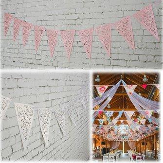 8m lila blanca triángulo de papel ahueca hacia fuera la guirnalda de la boda del empavesado de la decoración de arpillera con una cuerda