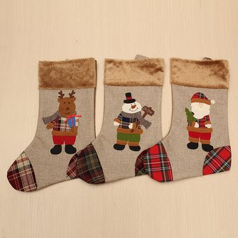 Christmas Gift Socks Bags Santa Claus Snowman Deer Pattern Polyester Hanging Stockings