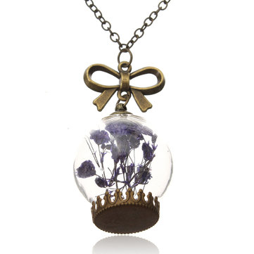 Women Dry Flower Glass Wish Bottle Sweater Chain Necklace