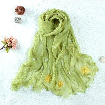 Mulheres senhoras amarelo flores bordado chiffon lenço folk estilo lenços long xale