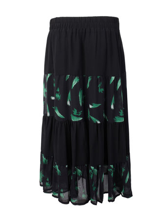 Elegant Women High Waist Printed Pleated Patchowrk Chiffon Maxi Skirt
