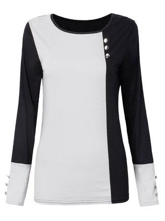 Casual Button Color Block Long Sleeve Round Neck Women Cotton T-Shirt