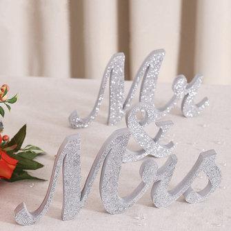 28CM MR & MRS Silver Shining Bling Letra de madeira Assinatura Decoração de mesa Casamento Favor Gift Accessories