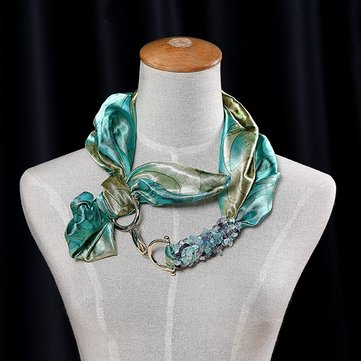 Women Ladies Imitation Satin Crytstal Jewelry Scarf Green Blue Printed Necklace Scarves