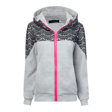 Sport Women Lace Patchwork Zipper Long Sleeve Velvet Hooded Sweatshirt