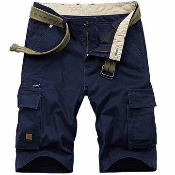 Mens Summer Big Size Multi Pocket Cotton Casual Cargo Sports Solid Color Hiking Outdooors Shorts