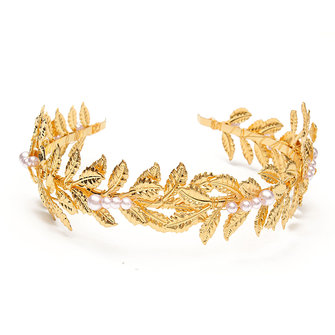 Bride Golden leaves Headbrand Metal Faux Pearl Wedding Headpiece Party Hair Accessories