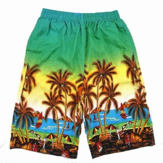 Mens Casual Coconut Palm Tree Printed Loose Quick Dry Beach Shorts 4 Colors