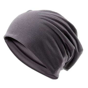 Unisex Cotton Blend Slouch Beanie Hat Pure Color Elastic Stretchable Outdoor Warm SKiing Cap