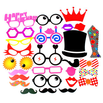30Pcs DIY Party Masks Photo Booth Props Mustache Stick Wedding Party Favor Decoration