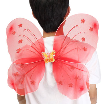 Girls Kids Princess Butterfly Fairy Angel Photography Props Wings Wand Fancy Dress Costume Nativity Play Tools