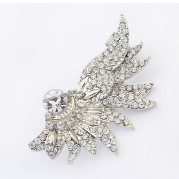 1pc Silver Plated Crystal Angel Wing Feather Ear Cuff Women Earrings