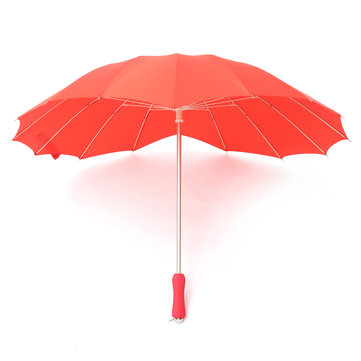 Red Heart Shaped Umbrella Bride Flower Girls Pongee Fiber Parasol Wedding Party Sun Umbrella