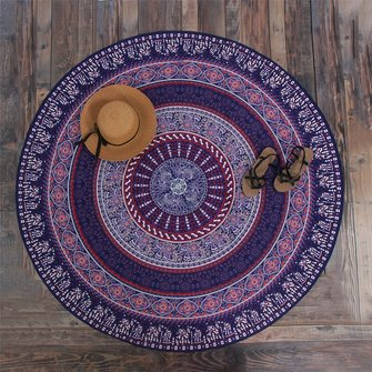 147CM Bohemia Round Yoga Purple Mat Beach Printing Throw Towel Shawl Wall Hanging Tapestry