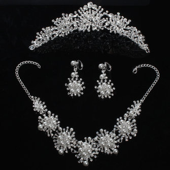 Bride Rhinestone Pearl Crown Necklace Brincos Bridal Wedding Jewelry Set Acessórios para vestidos