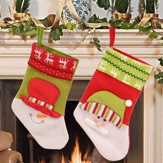 Christmas Gift Ornament Socks Bags Santa Claus Snowman Pattern Fleece Hanging Stockings Decoration