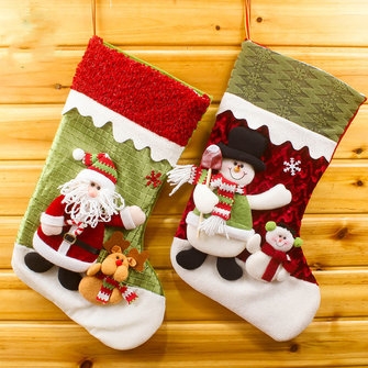 Cute Embroidered Christmas Gift Socks Bags Santa Claus Reindeer Snowman Stockings Tree Decoration