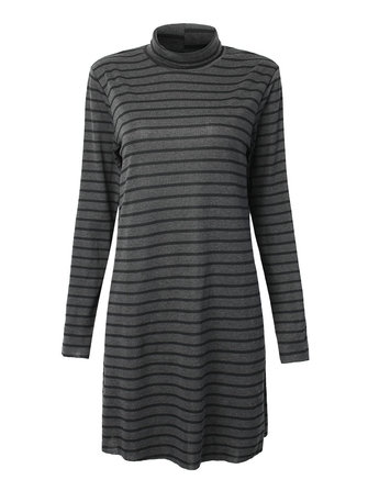 Casual Women Elegant Turtleneck Long Sleeve Stripe Mini Dress