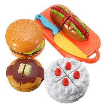 6PCS Plastic Cutting Sclice Piece Cake Hamburger Hotdog Kitchen Food Children Kids Pretend Play Toy