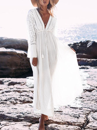 Sexy Beach Deep V-Neck Long Sleeve Hollow Out Maxi Dress