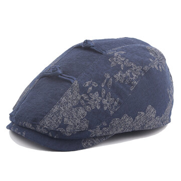 Women Vintage Chinese Style Beret Cap Cotton Flower Printing Sunshade Visor Forward Hat