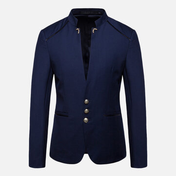 Mens Stylish Stand Collar Slim Suit Jacket Blazers