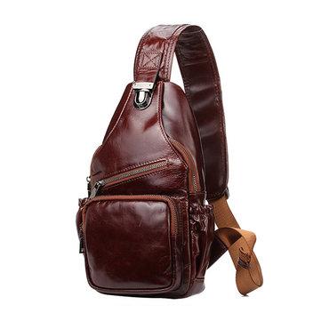 Men Real Leather Chest Bag Retro Crossbody Bag Shoulder Bag