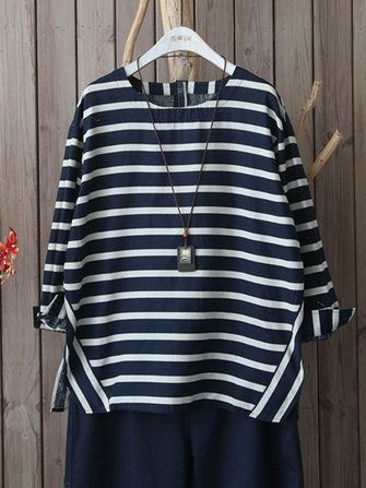 Casual Stripe 3/4 Sleeve Loose Blouse For Women