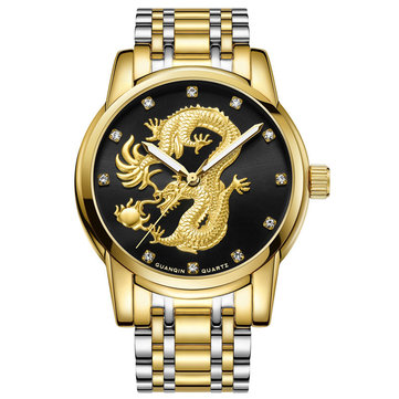GUANQIN GS19069 Luxury Dragon Design Steel Strap Business Men Quartz Wrist Watches