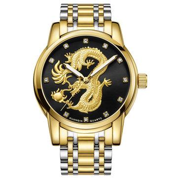 GUANQIN GS19069 Luxury Dragon Design Steel Strap Business Men Quartz Wrist Watches