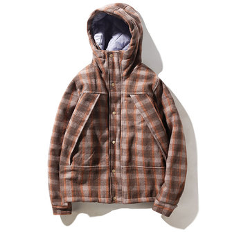 Mens Plaid Checkered Thick Warm Hooded Winter Fashion Jacket