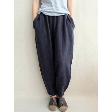 S-5XL Women Elastic Waist Side Pockets Solid Color Loose Casual Pants