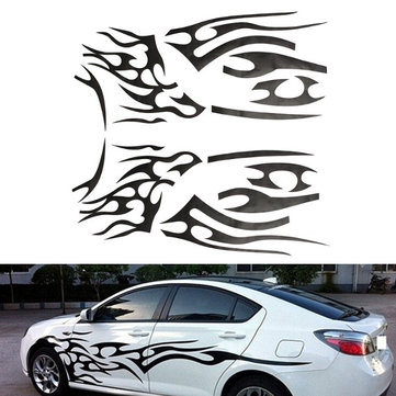 2Pcs Black Vinyl Graphics Car Decal Sticker Flame Pattern Auto Body Decoration Universal