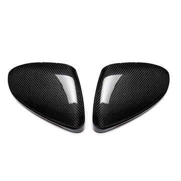 Carbon Fiber Door Side Car Mirror Replacement Cover Caps for VW Golf GTI MK7 2013 17