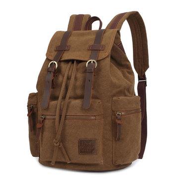 KAUKKO Холст натуральная кожа Открытый большой емкости Плечи сумка рюкзак