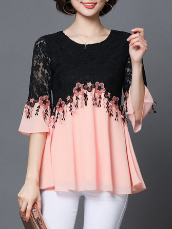 Lace Patchwork Half Sleeve Blouse