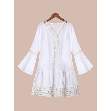 Plus Size Sexy Women Hollow Out Splicing Bell Sleeve Shirt
