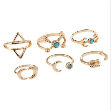Sweet Set of Finger Ring Sun Moon Triangle Geometric Bule Turquoise Elegant Jewelry for Women
