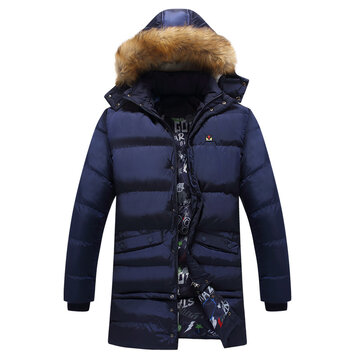 Mens Winter Mid Length Thickened Buttons Solid Color Warm Padded Jacket