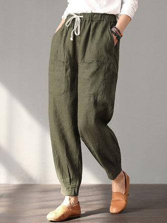 Women Casual High Drawstring Waist Harem Pants