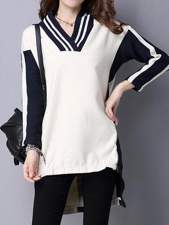 เสื้อกันหนาวลายสก็อตV-NeckLongSleeveSweaters
