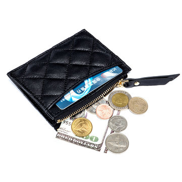 Sheepskin Soft Coin Bag Zipper Embroidery Genuine Leather Thin Bank Card Holder Wallet Purse